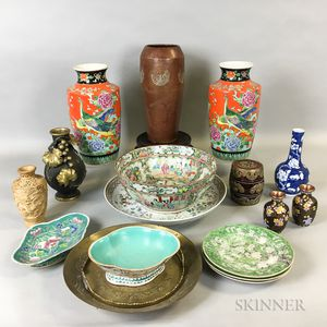 Large Group of Chinese Ceramic, Metal, and Stone Items