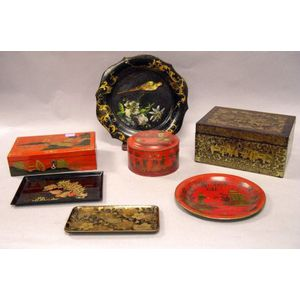 Seven Asian and Victorian Decorated Tin and Lacquer Boxes and Trays.