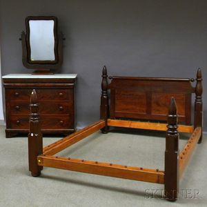 Empire White Marble-top Mahogany Veneer Mirrored Bureau and Walnut Turned Post Bed