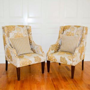Pair of Moderne-style Beige and Gold Floral-upholstered Lounge Chairs