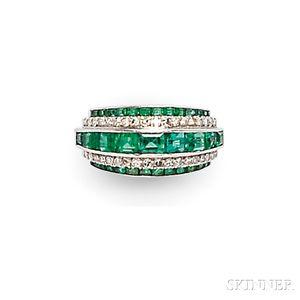 Art Deco Platinum, Emerald, and Diamond Ring