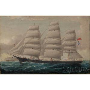 William Howard Yorke (British, 1847-1921)      Portrait of the British Ship J.D. EVERETT.