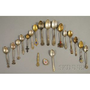 Sixteen Sterling Silver Souvenir Spoons