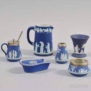 Six Wedgwood Blue Jasper Items