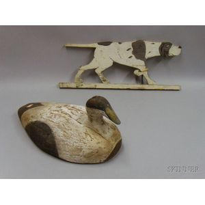 Carved and Painted Wooden Eider Duck Decoy and a Painted Wood Panel Pointer Dog   Weather Vane
