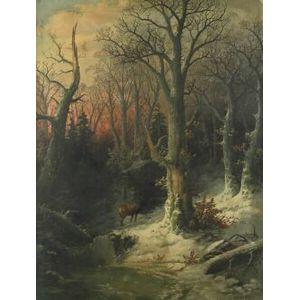 John J. Zang (American, fl.1883)  A Forest Clearing, Winter