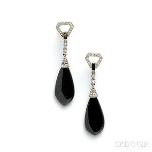 Platinum, Onyx, and Diamond Earpendants