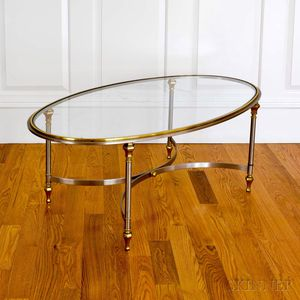 Vintage Hollywood Regency Brass and Steel Oval Glass-top Cocktail Table