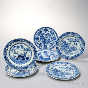 Six Export Blue and White Plates