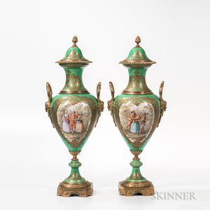 Pair of Bronze-mounted Sevres-style Porcelain Vases and Covers