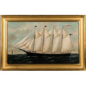 William Pierce Stubbs (Maine/Massachusetts, 1842-1909)      Portrait of the Schooner Clara Goodwin