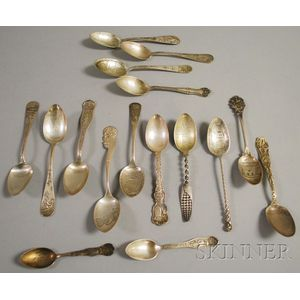 Approximately Sixteen Sterling Silver Souvenir Spoons