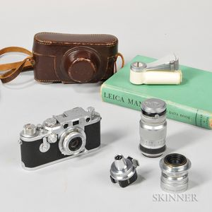 Leica IIIf with Red Dial, Self-timer, and Three Lenses