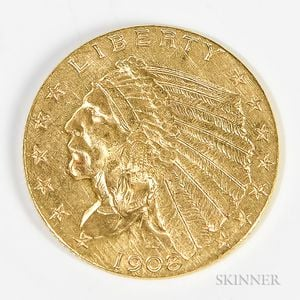 1908 $2.50 Indian Head Gold Coin.     Estimate $200-300