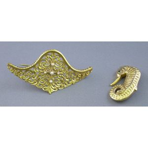 12kt Gold Seahorse-form and a 14kt Gold Scrollwork and Pearl Brooch.