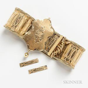 Antique 14kt Gold Strap Bracelet
