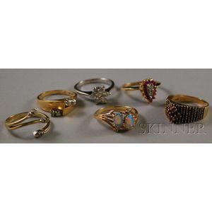 Six 14kt Gold Gem-set Rings