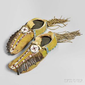 Comanche Beaded Hide Moccasins