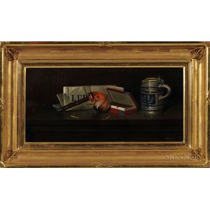 Richard Worsen Meade Landis (American, 1873-1912)      Still Life with Newspaper, Pipe, Tobacco, and Tankard
