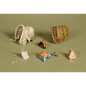Six Doll Bonnets