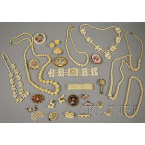 Group of Antique Ivory and Painted Porcelain Jewelry