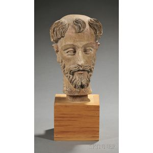 Carved Wood Head of a Male Saint