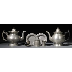 Seven Pewter Table Items