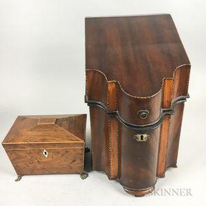 Georgian Inlaid Mahogany Knife Box and a Rosewood Casket-form Tea Caddy