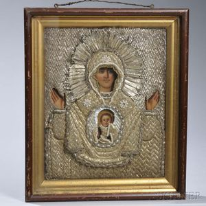 Orthodox Icon Depicting the Sign Mother of God