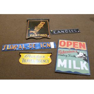 Five Assorted Mid-20th Century Trade and Advertising Signs