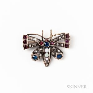 14kt Gold, Sapphire, Ruby, Diamond, and Opal Butterfly Brooch