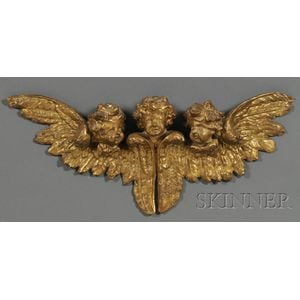 Carved and Giltwood Three-putti Panel