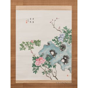 Hanging Scroll Depicting Peonies with Rocks