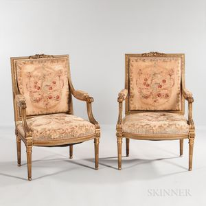 Pair of Louis XVI-style Giltwood Tapestry-upholstered Open Armchairs