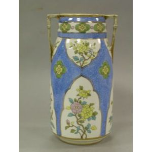 Nippon Handpainted Floral and Gilt Decorated PorcelainVase.