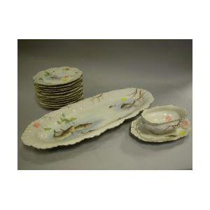 Fourteen-Piece Limoges Porcelain Transfer Decorated Fish Set.