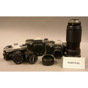 Lot of Black and Chrome 35mm. Cameras