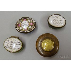 Three Enamel Decorated Patch Boxes and a LaFayette Commemorative Burl Snuff Box