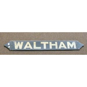 """Painted Wooden """"Waltham"""" Train/Bus Stop Sign"""