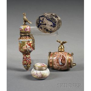 Three Continental Miniature Silver-mounted Enamel Objects