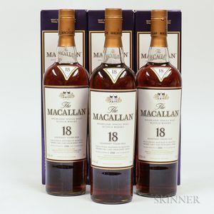 Macallan 18 Years Old, 3 750ml bottles (oc)