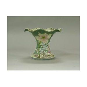 Japanese Moriageware Ruffled-edge Porcelain Mantel Vase.