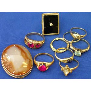 Nine Assorted Rings and a Hardstone Clip.