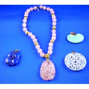 Rose Quartz and Gold Beaded Pendant Necklace and a Three Carved Hardstone Pendants