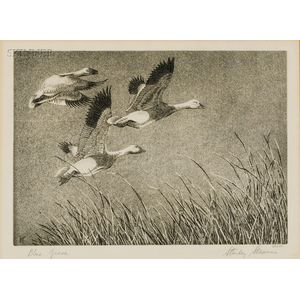 """Stanley Stearns (American, b. 1926)      Lot of 1955 """"Duck Stamp"""" Items: Blue Geese"""