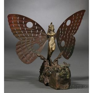 "After Carl Kauba (Austrian, 1865-1922)       Patinated ""Naughty"" Bronze Figure of a Dragonfly Nymph, Metamorphosis"