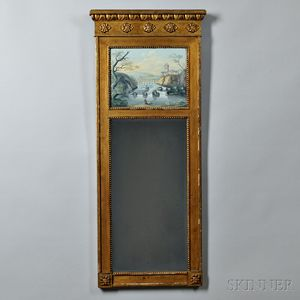 Giltwood and Eglomise Entablature Mirror