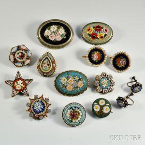 Twelve Pieces of Micromosaic Jewelry