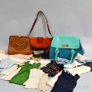 Three Leather Designer Handbags and a Group of Lady