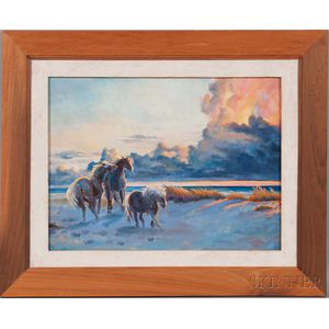 Joyce Hall (American, 20th/21st Century)      Chincoteague Ponies at Sunset.